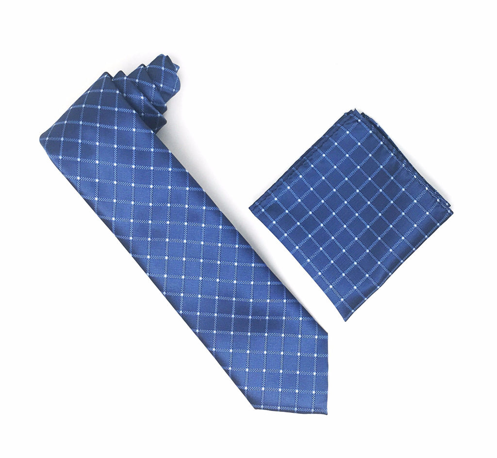 Blue with Large Blue Squares & Silver Mini Dotted Extra Long Silk Tie With Matching Pocket Square
