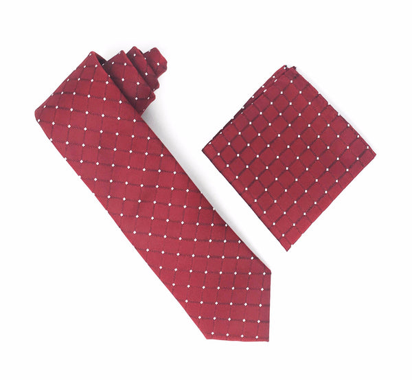 Burgundy with Large Burgundy Squares & Silver Mini Dotted Extra Long Silk Tie With Matching Pocket Square