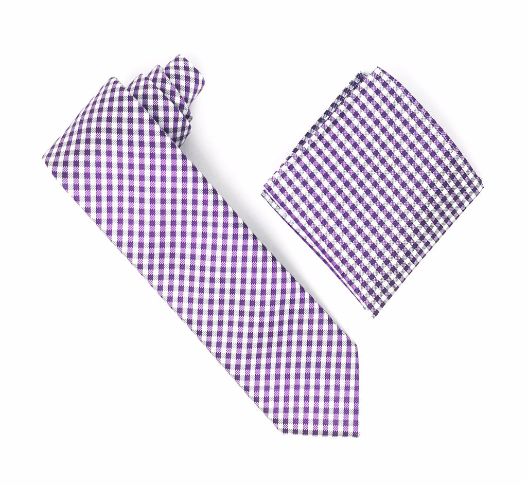 Purple & White Checkered Design Silk Tie With Matching Pocket Square