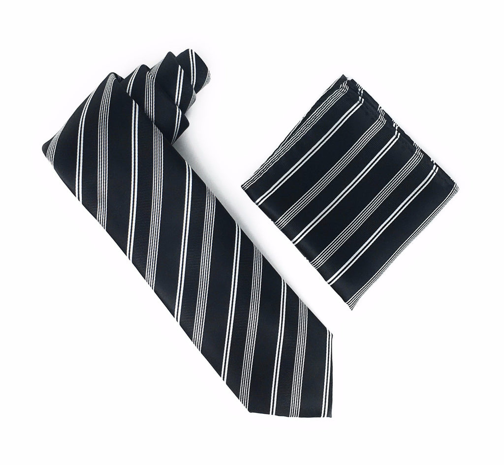 Black With Silver Stripes Silk Tie With Matching Pocket Square