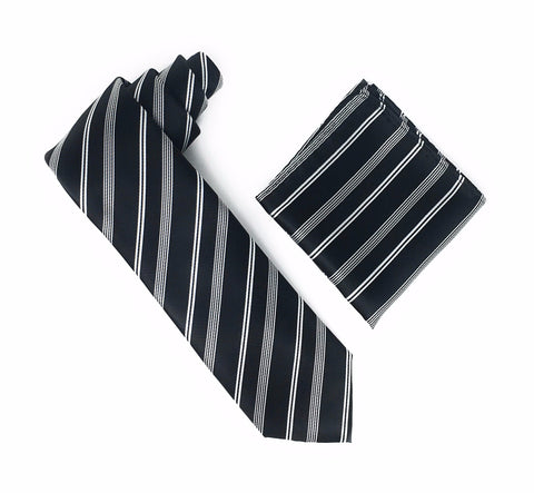 Black With Silver Stripes Extra Long Silk Tie With Matching Pocket Square