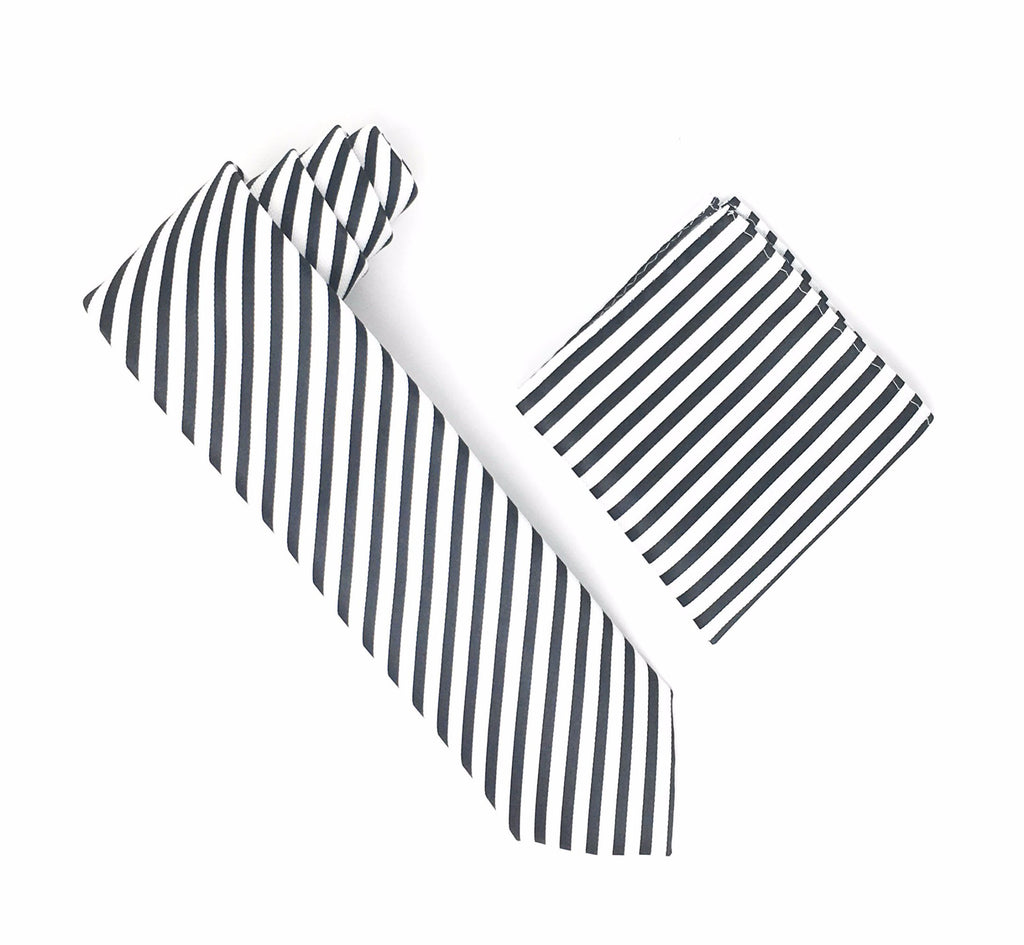 White & Black Striped Extra Long Silk Tie With Matching Pocket Square