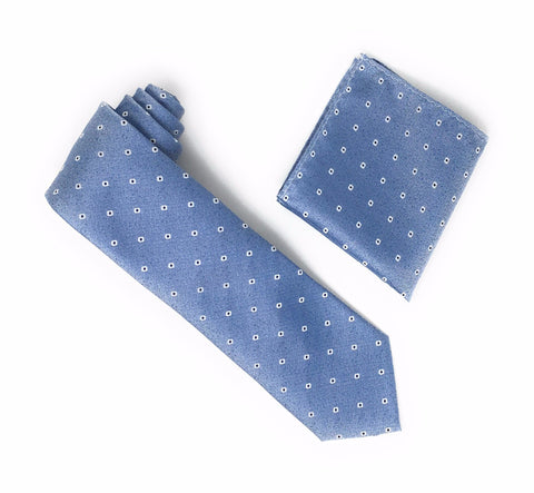 Blue With Navy inside White Mini Dots Designed Tie With Matching Pocket Square