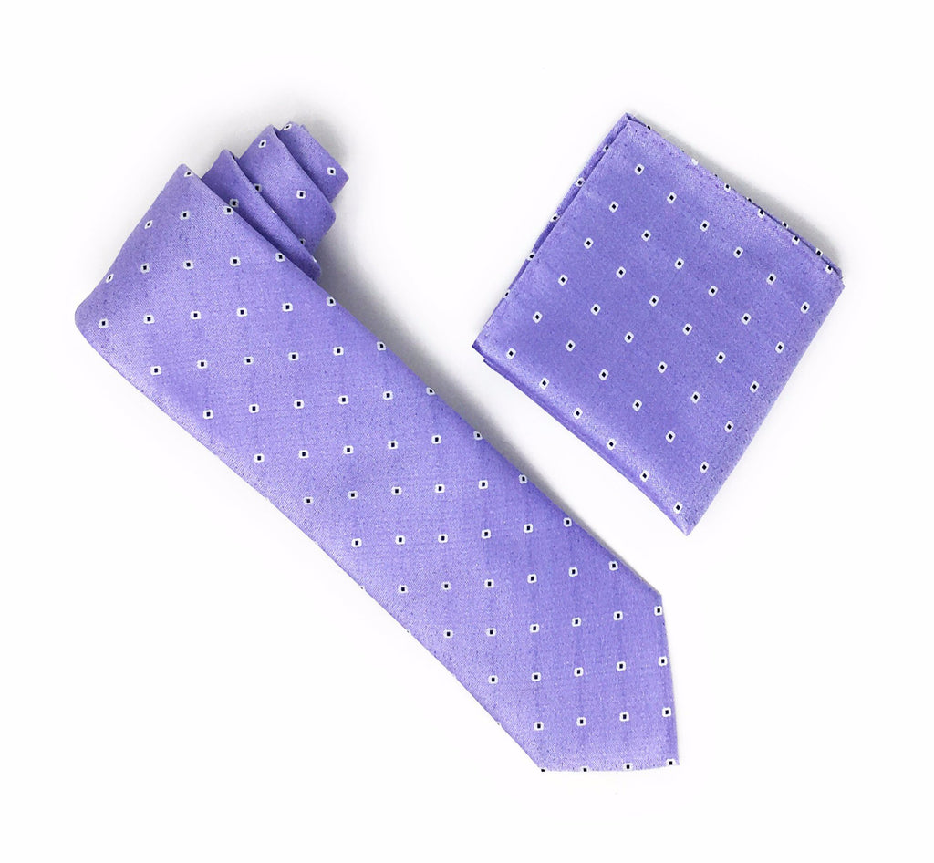 Lavender With Purple inside White Mini Dots Silk Tie With Matching Pocket Square
