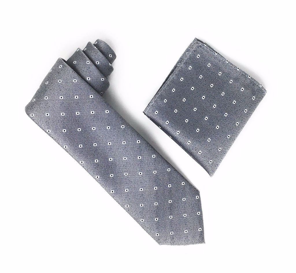 Grey With Charcoal inside White Mini Dots Silk Tie With Matching Pocket Square