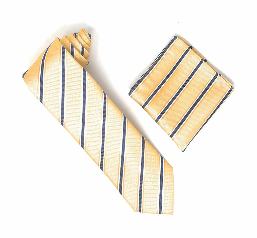 Gold With Navy, White and Dark Gold Striped Extra Long Silk Tie With Matching Pocket Square