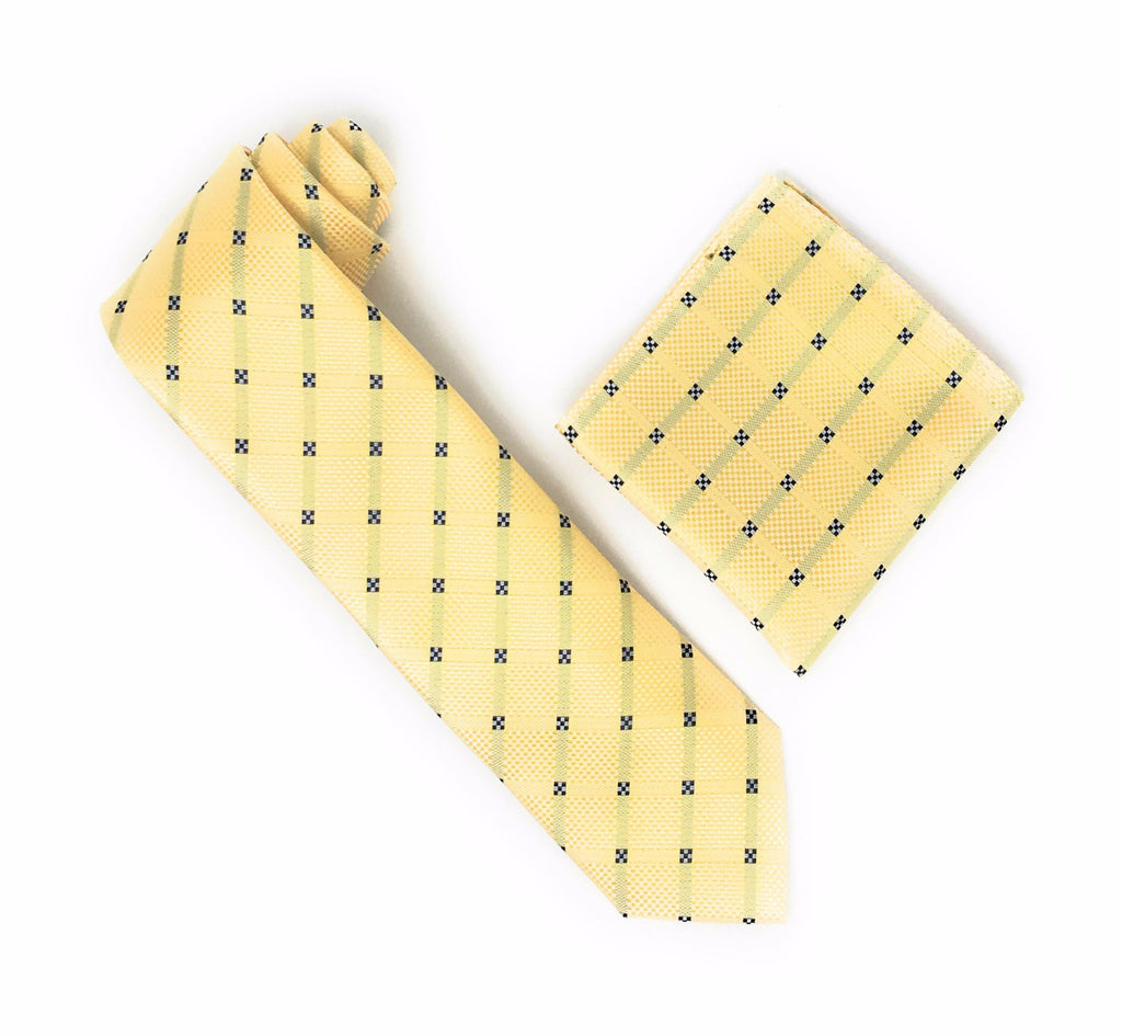 Gold With Light Gold and Faded Navy Stripes Interlinked With A Solid Navy Squared Design Extra Long Silk Tie With Matching Pocket Square