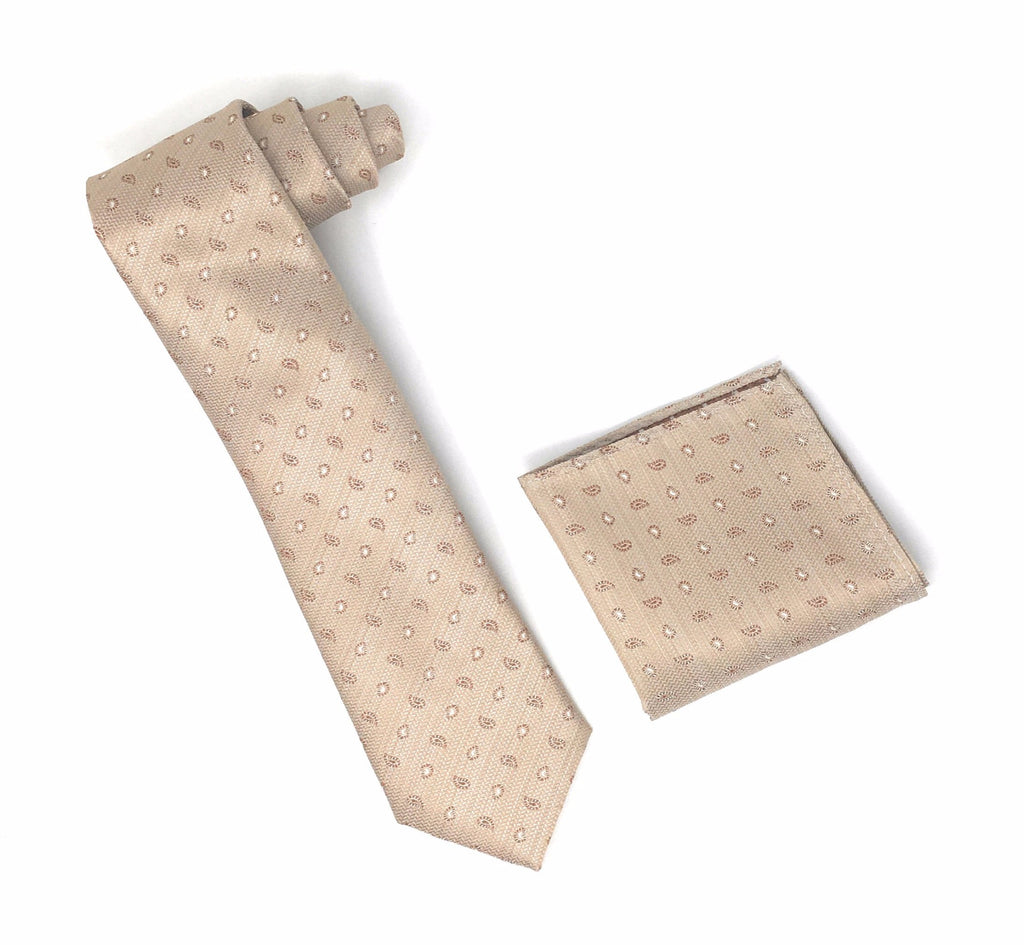 Champagne Toast With Brown and White Designed Extra Long  Silk Tie With Matching Pocket Square