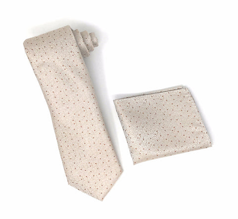 Beige with Solid Chestnut Brown Dotted Extra Long Silk Tie With Matching Pocket Square