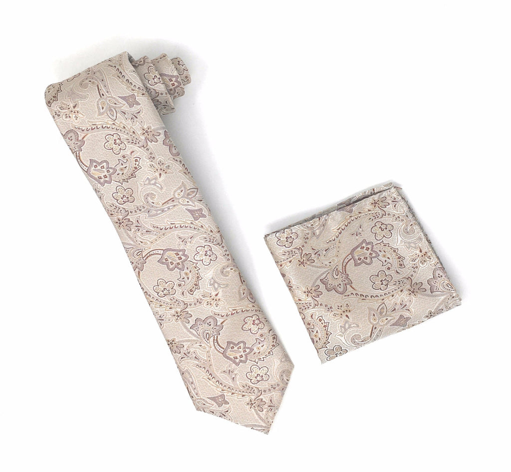 Tan, Beige and Brown Floral Designed Tie With Matching Pocket Square