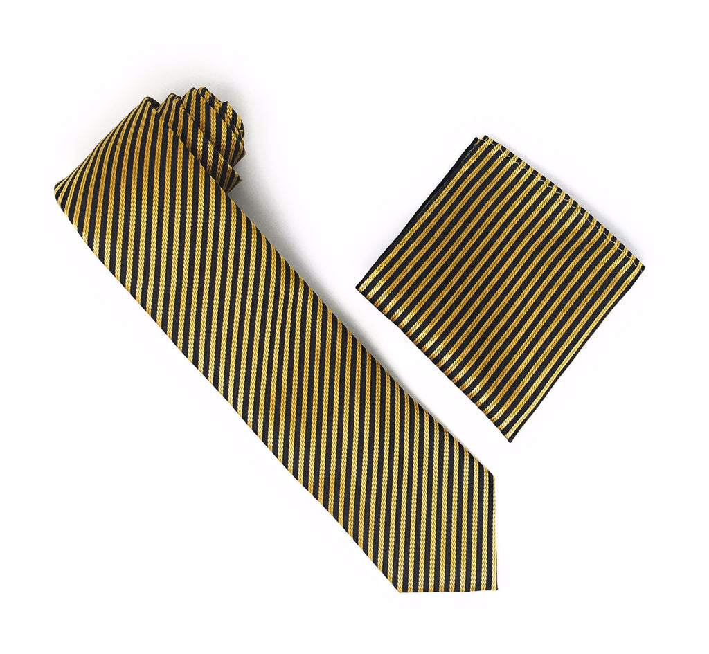 Dijon Gold and Black Striped Silk Tie With Matching Pocket Square