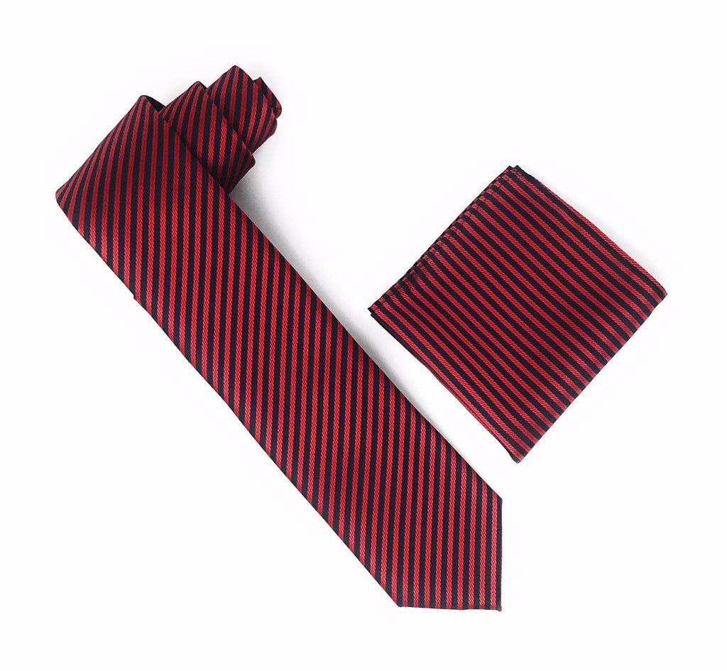 Cherry Red and Black Striped Extra Long  Silk Tie With Matching Pocket Square