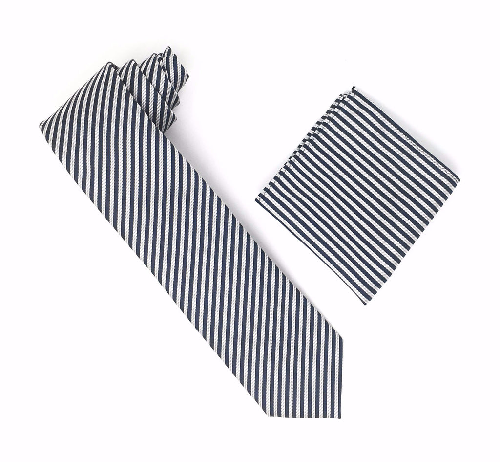 Grey and Silver Striped Extra Long Silk Tie With Matching Pocket Square
