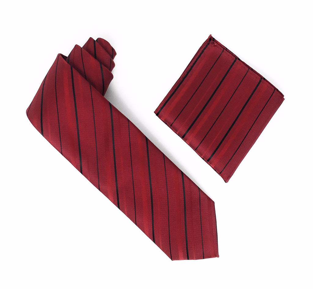 Burgundy with Cherry Red and Black Striped Extra Long Silk Tie With Matching Pocket Square