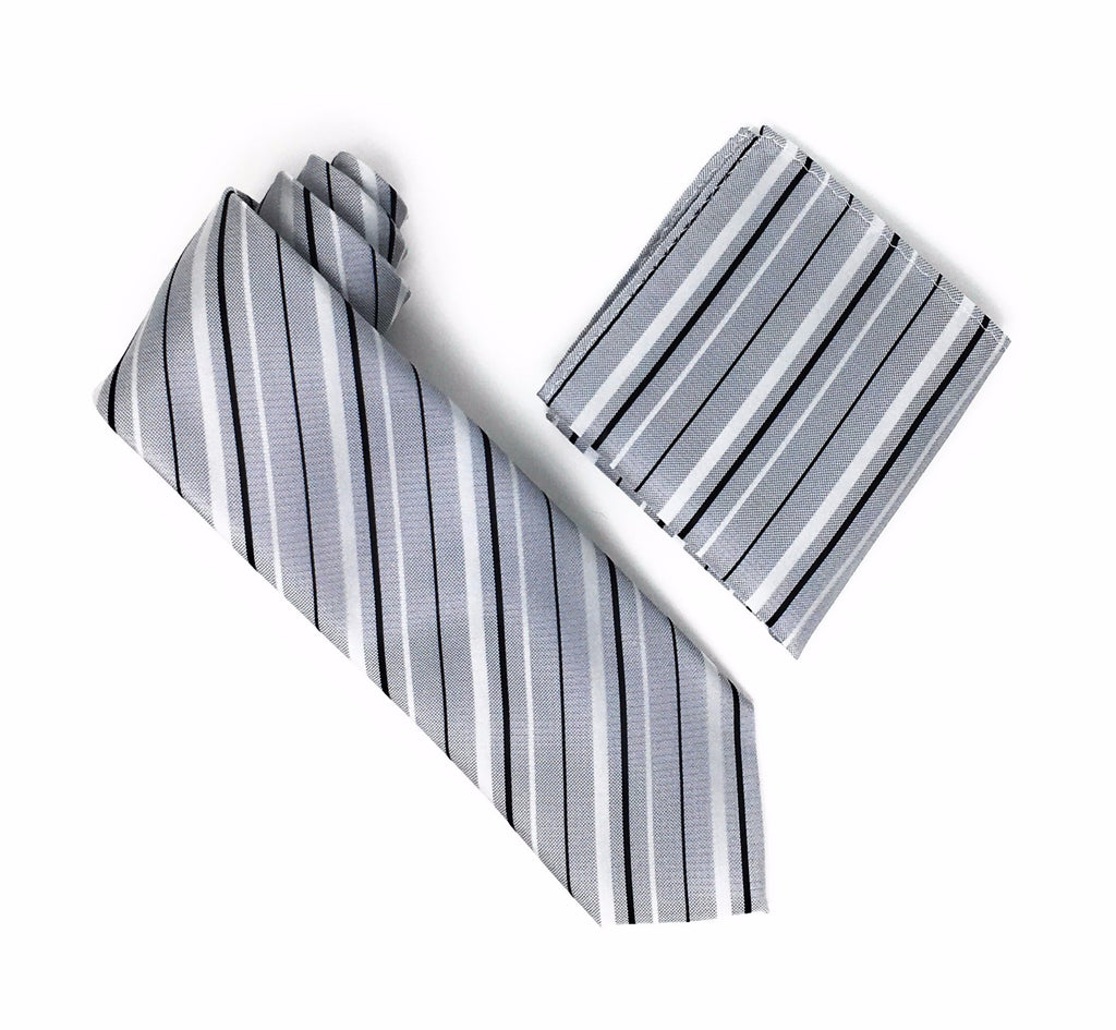 Silver, Grey and  Black Striped Extra Long  Silk Tie With Matching Pocket Square
