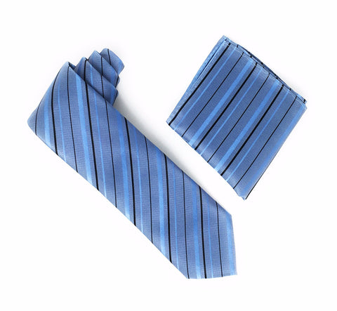 Blue With Carolina Blue and Black Striped Tie With Matching Pocket Square