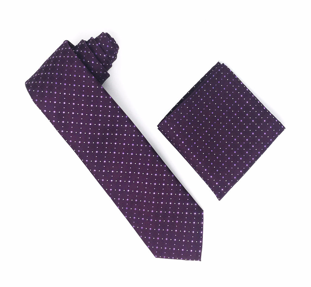 Plum with Purple and Gold Squares with Gold Mini Dots Silk Tie With Matching Pocket Square