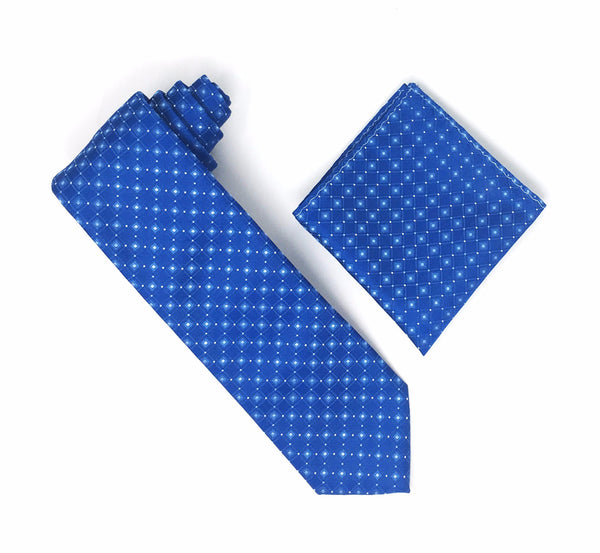 Blue with Ocens Blue Squares with Baby Blue Mini Dots Silk Tie With Matching Pocket Square
