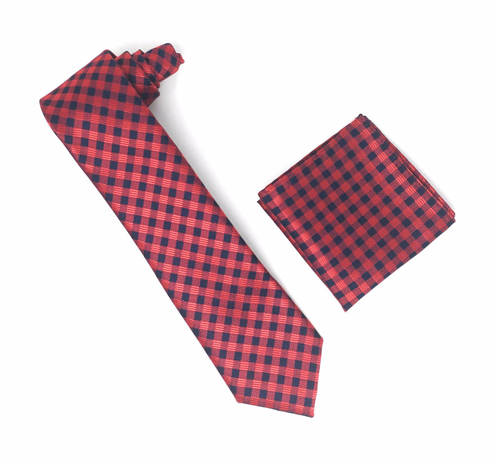 Red and Navy Checkered Designed Extra Long Silk Tie With Matching Pocket Square