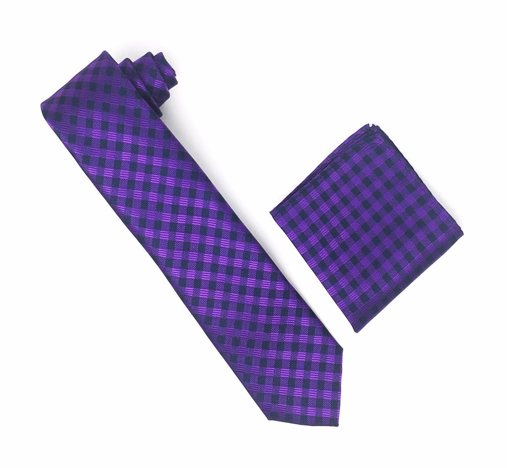 Purple and Navy Checkered Designed Tie With Matching Pocket Square