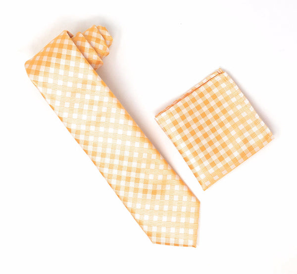 Gold and Silver Checkered Designed Extra Long Silk Tie With Matching Pocket Square