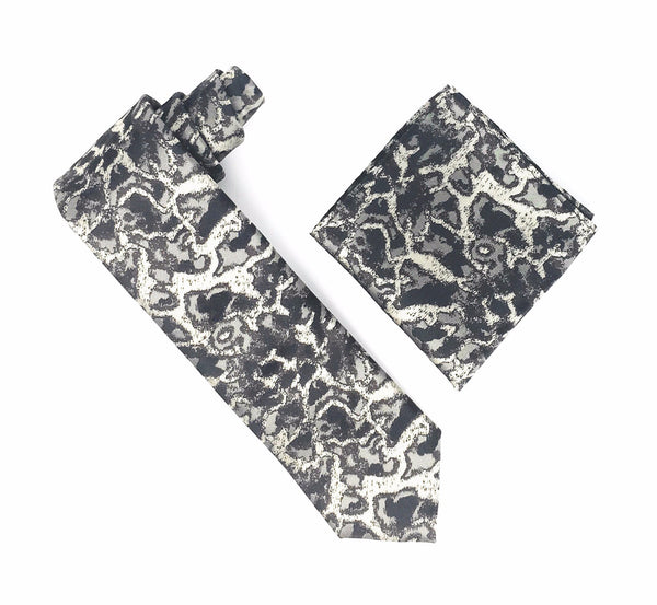Beige, Grey and Silver Camo Designed Extra Long Silk Tie With Matching Pocket Square