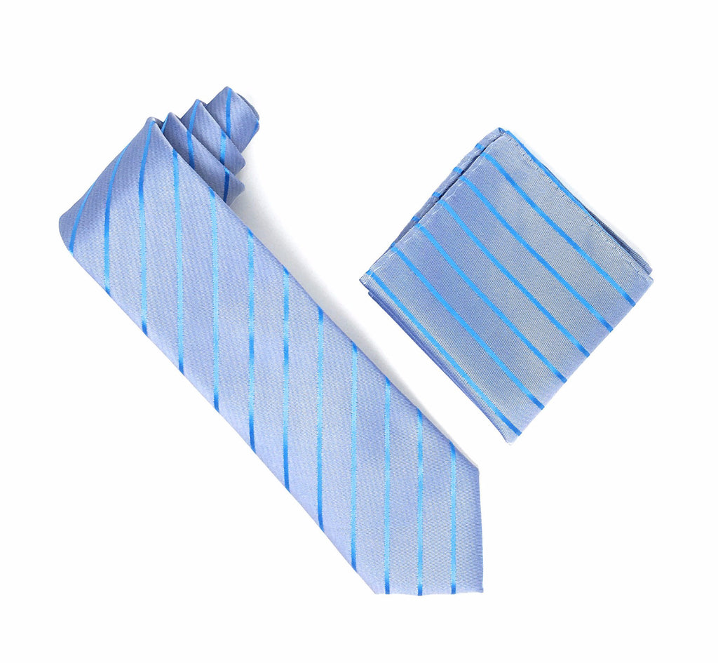 Light Steel Blue and Carolina Blue Stripped Tie With Matching Pocket Square