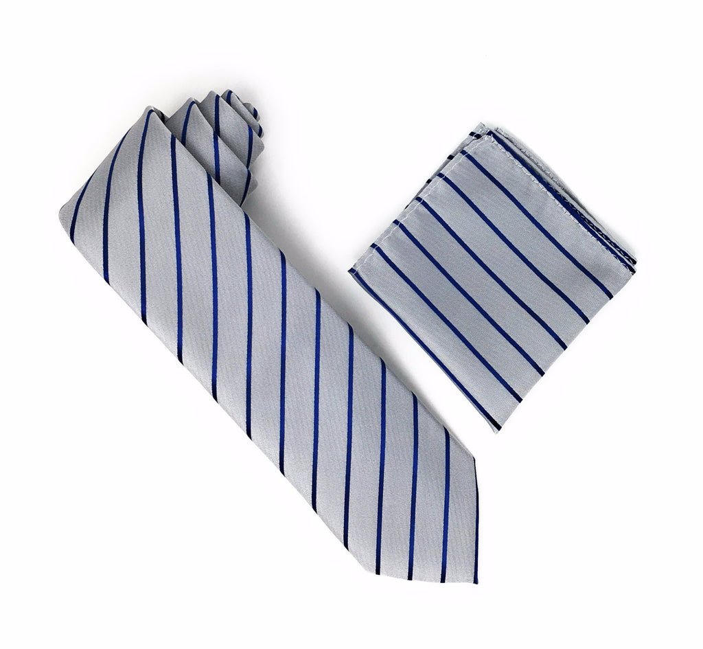 Grey and Navy Stripped Tie With Matching Pocket Square