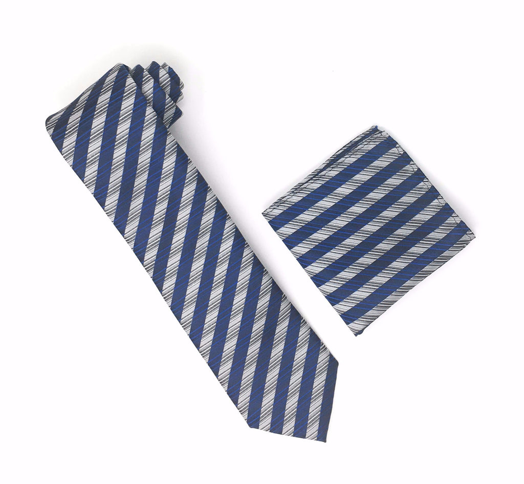 Silver, Grey, Black and Blue Stripped Extra Long Silk Tie With Matching Pocket Square