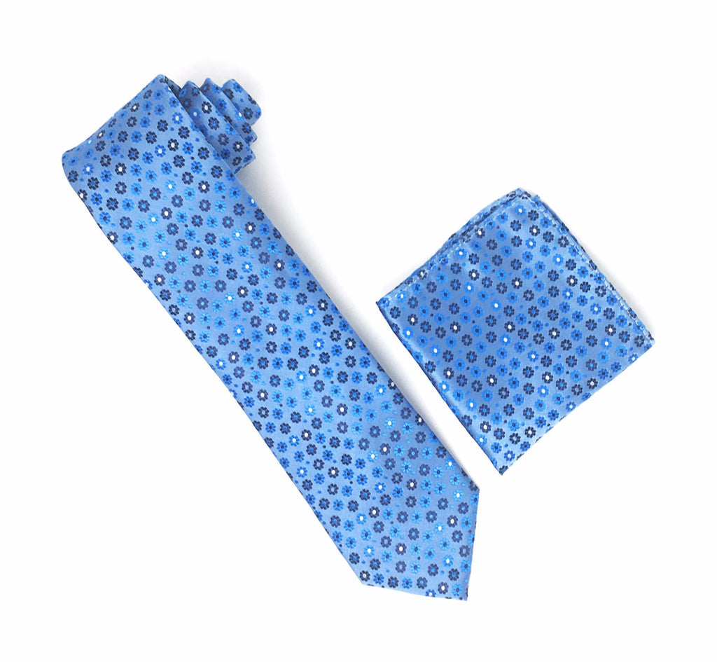 Blue With Light Blue, Silver and Navy Flower Designed Tie With Matching Pocket Square