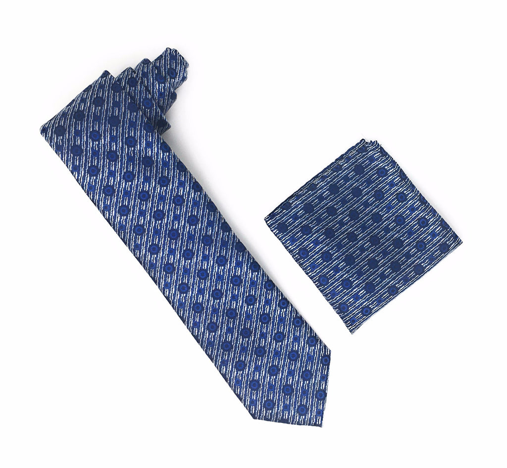 Silver, Navy, Blue & Light Blue Stripes With Navy & Blue Circle Designed Silk Tie With Matching Pocket Square