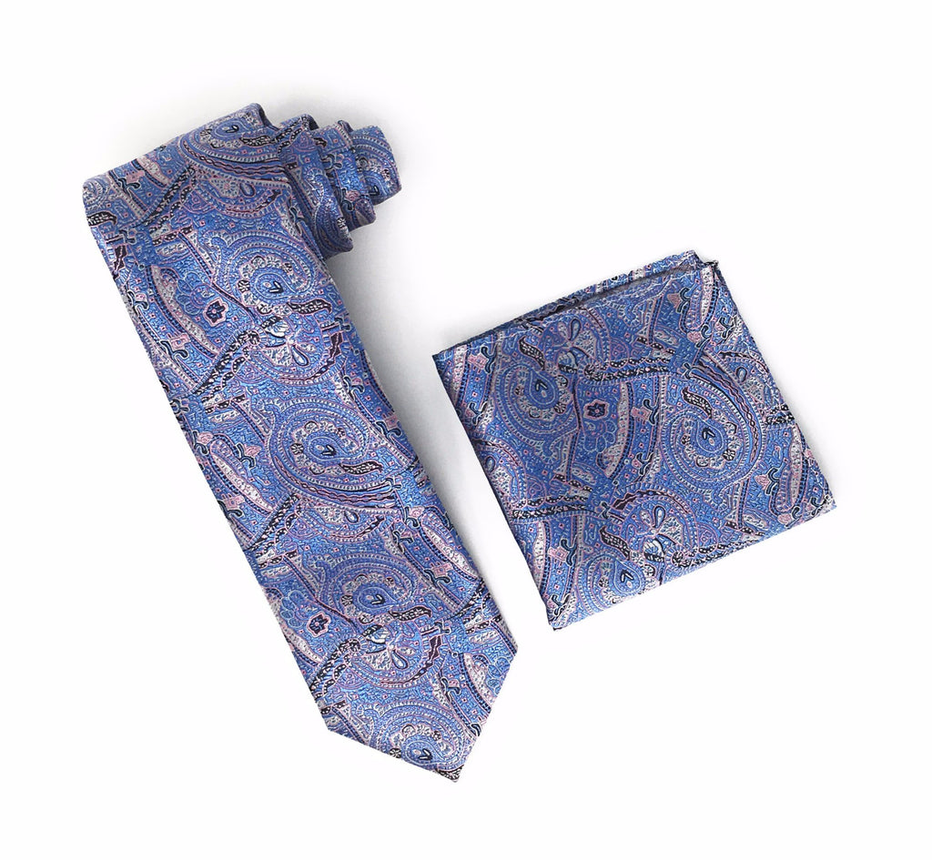 Silver, Black, Pink, Blue & Baby Blue Designed Extra Long Silk Tie With Matching Pocket Square