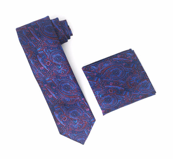 Black, Blue & Burgundy Designed Extra Long Silk Tie With Matching Pocket Square