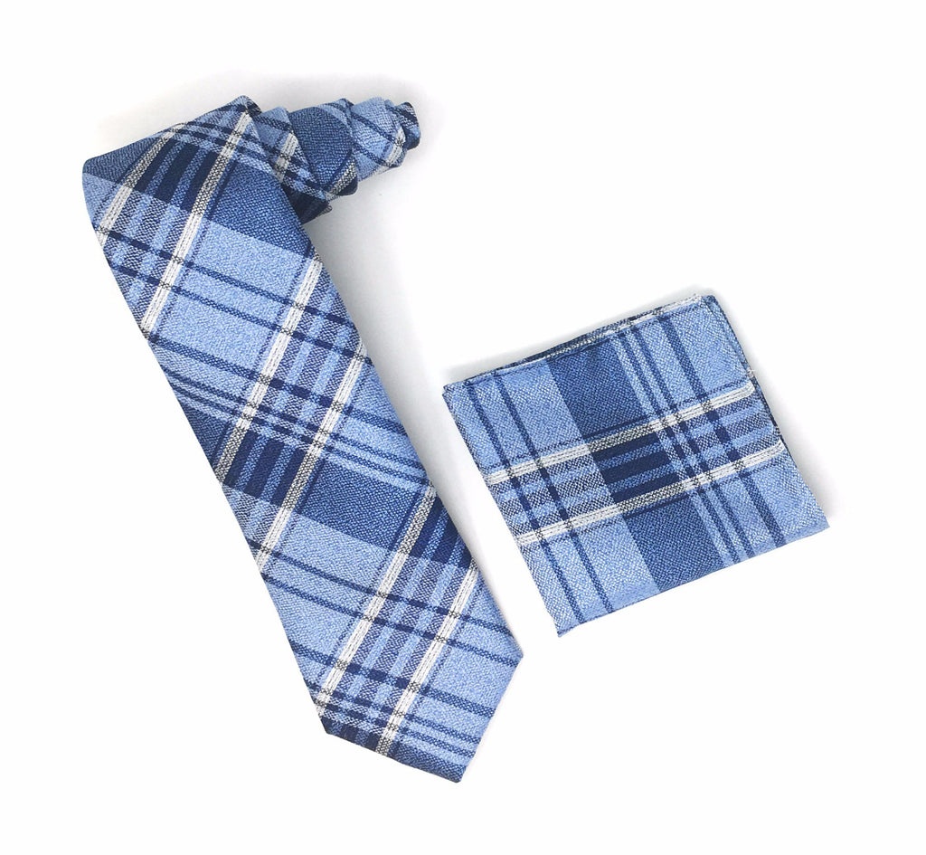 Navy, Silver & Light Blue Line Designed Extra Long Silk Tie With Matching Pocket Square