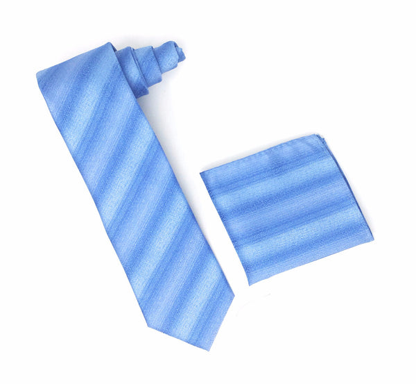 Blue & Light Blue Line Designed Extra Long Silk Tie With Matching Pocket Square