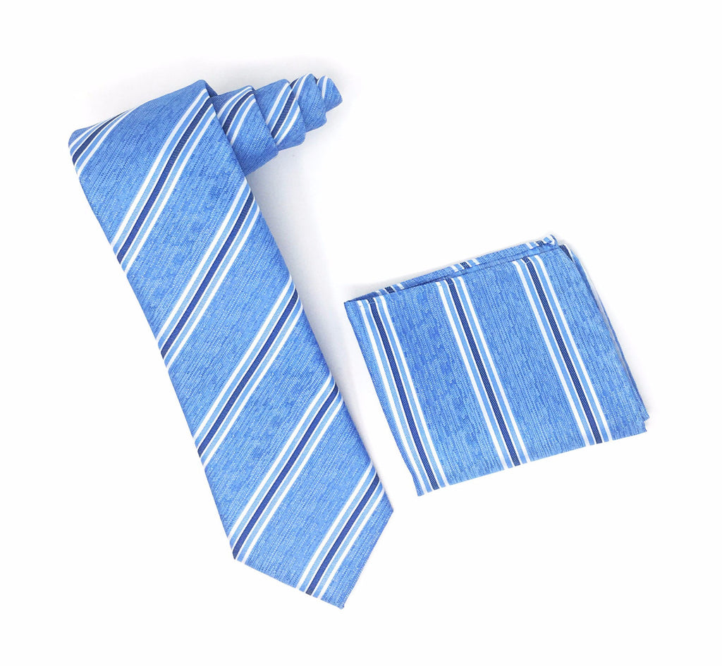 Light Blue, White & Blue Stripped Extra Long Silk Tie With Matching Pocket Square