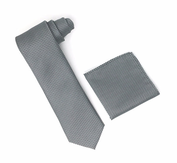 Black & Grey Designed Extra Long Silk Tie With Matching Pocket Square