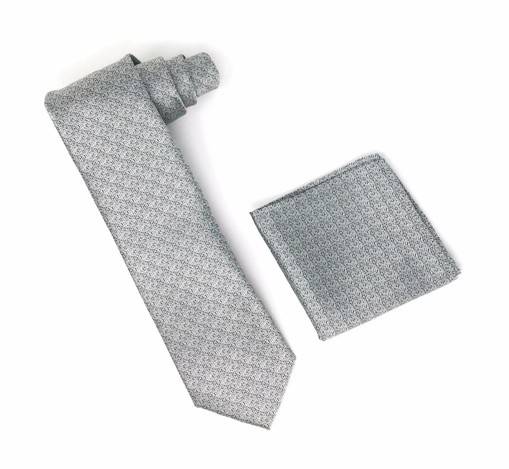 Charcoal, Grey & Black Designed Tie With Matching Pocket Square
