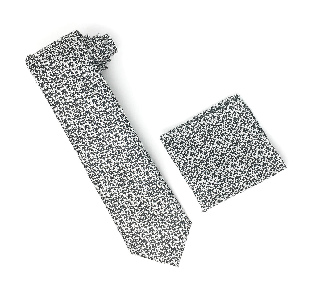 Silver, Grey & Black Designed Silk Tie With Matching Pocket Square
