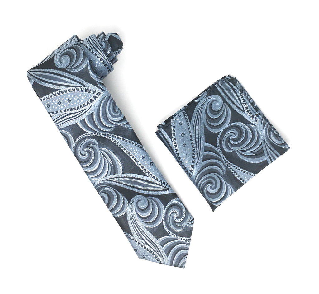 Charcoal Grey With Silver & Black Designed Extra Long Silk Tie With Matching Pocket Square