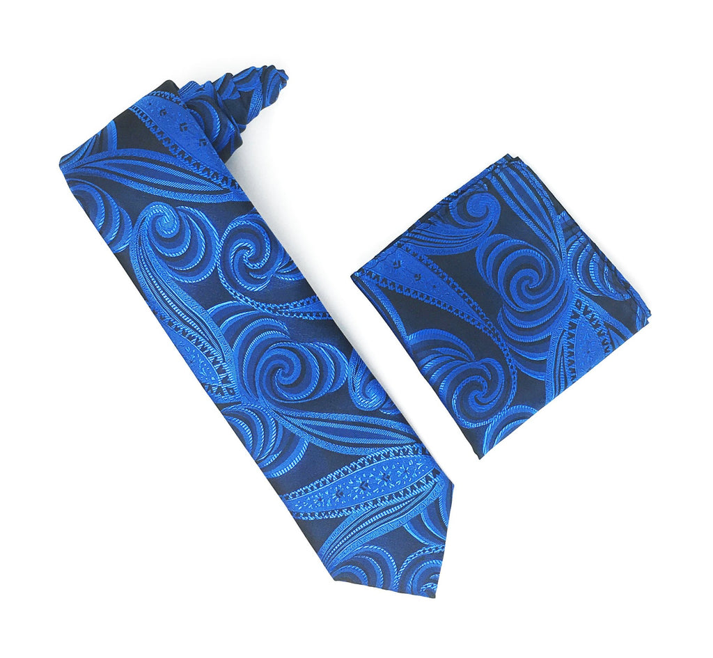 Navy With Royal Blue & Black Designed Tie With Matching Pocket Square