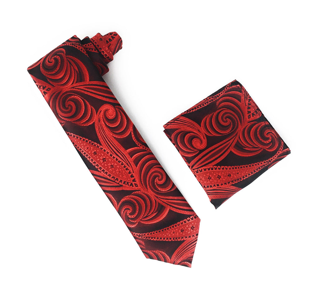 Burgundy With Red & Black Designed Tie With Matching Pocket Square