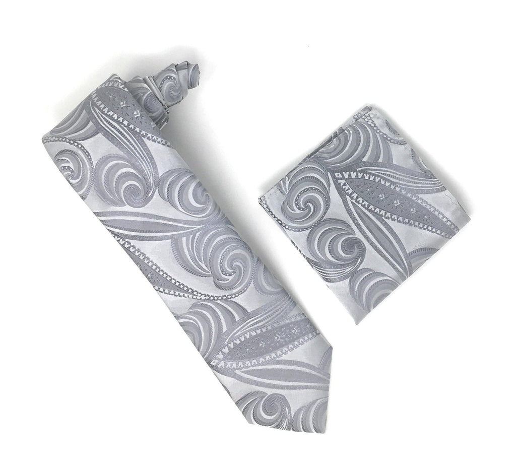 Silver & Grey Designed Extra Long Silk Tie With Matching Pocket Square