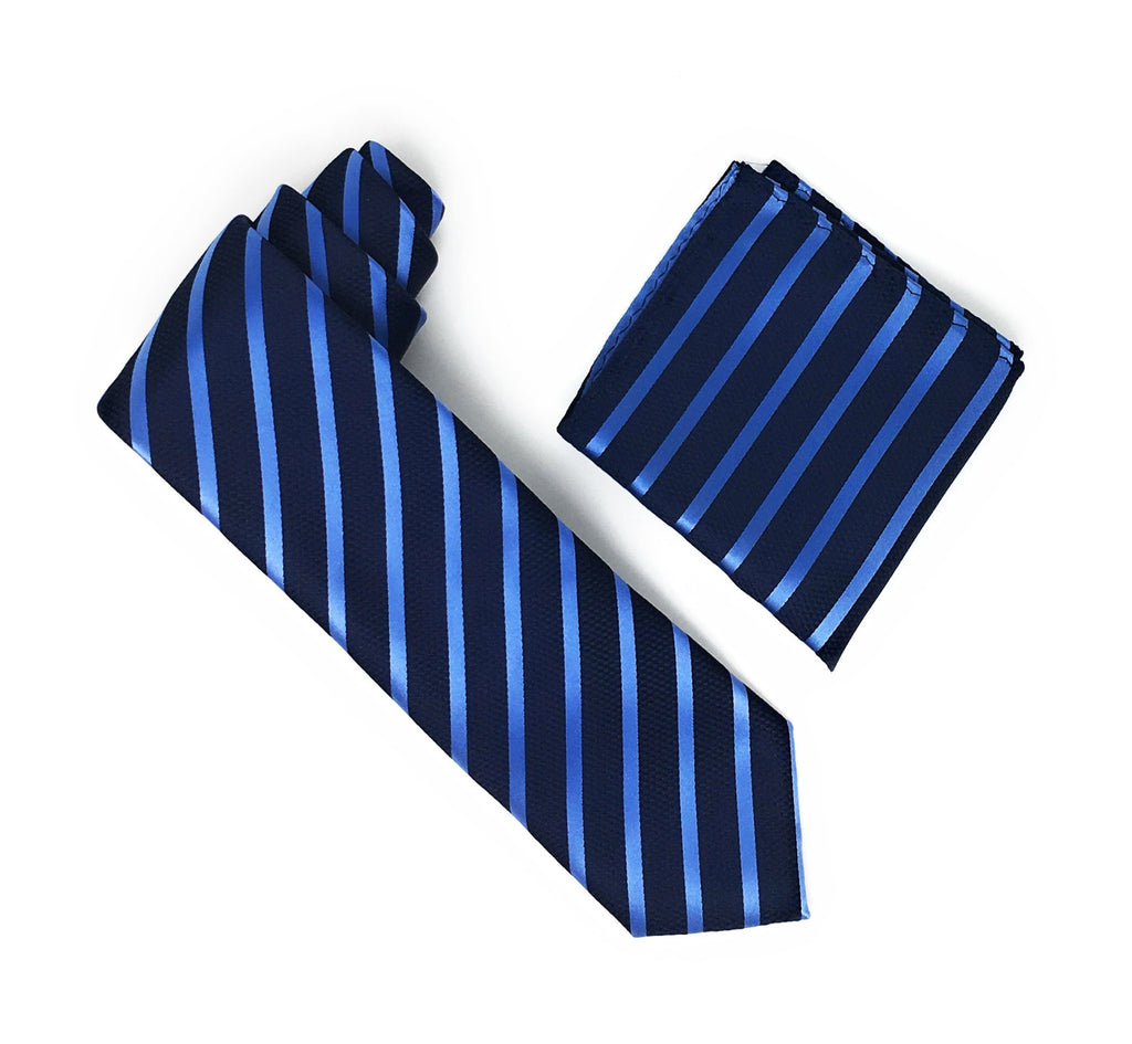 Navy and Royal Blue Stripped Extra Long Silk Tie With Matching Pocket Square