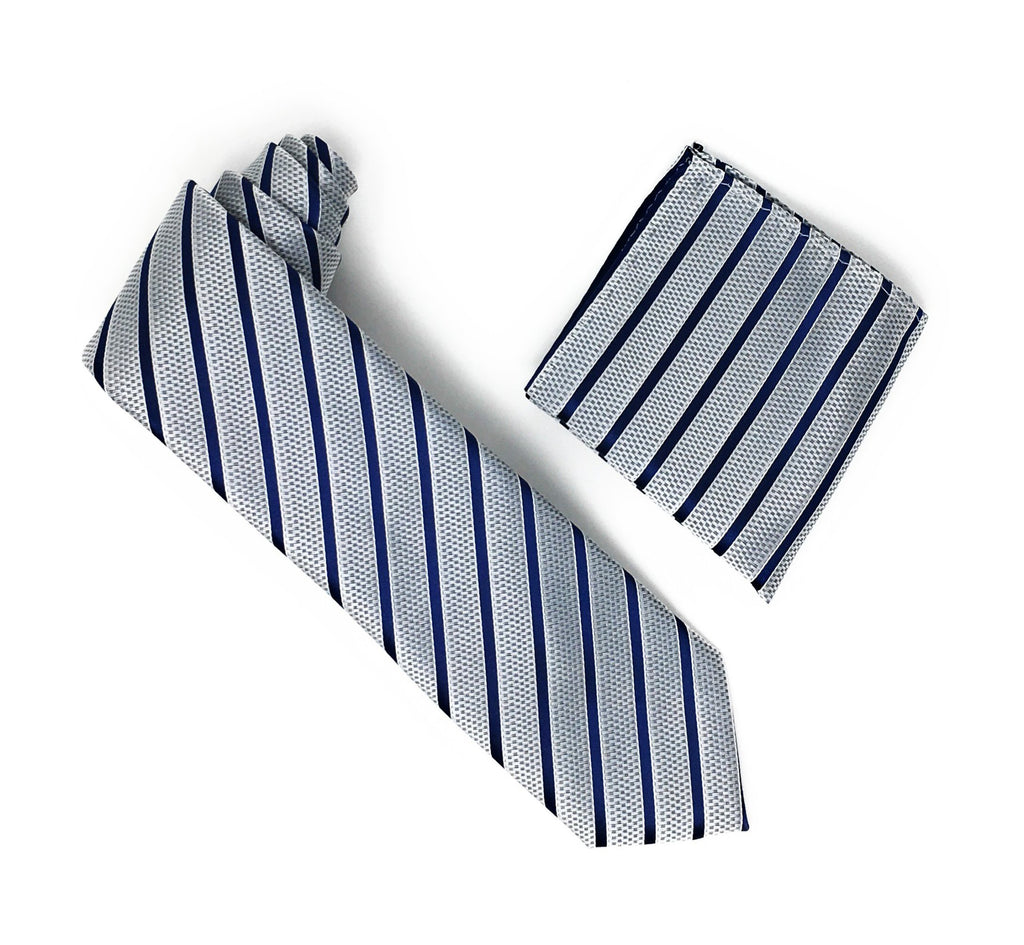 Silver & Navy Stripped Extra Long Silk Tie With Matching Pocket Square