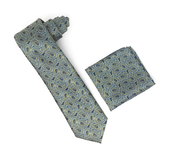 Forest Green, Blue, Gold Paisley Extra Long Silk Tie With Matching Pocket Square