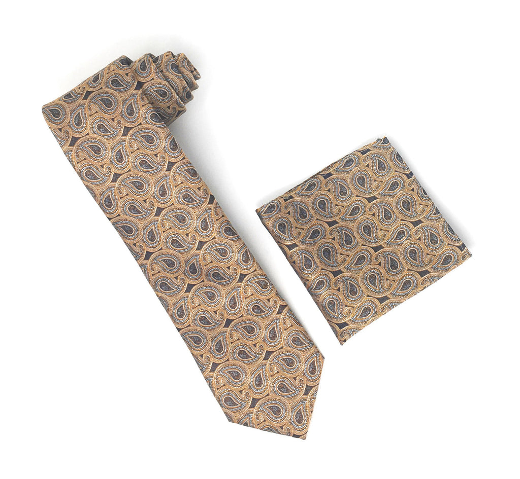Bronze, Silver & Black Paisley Silk Tie With Matching Pocket Square