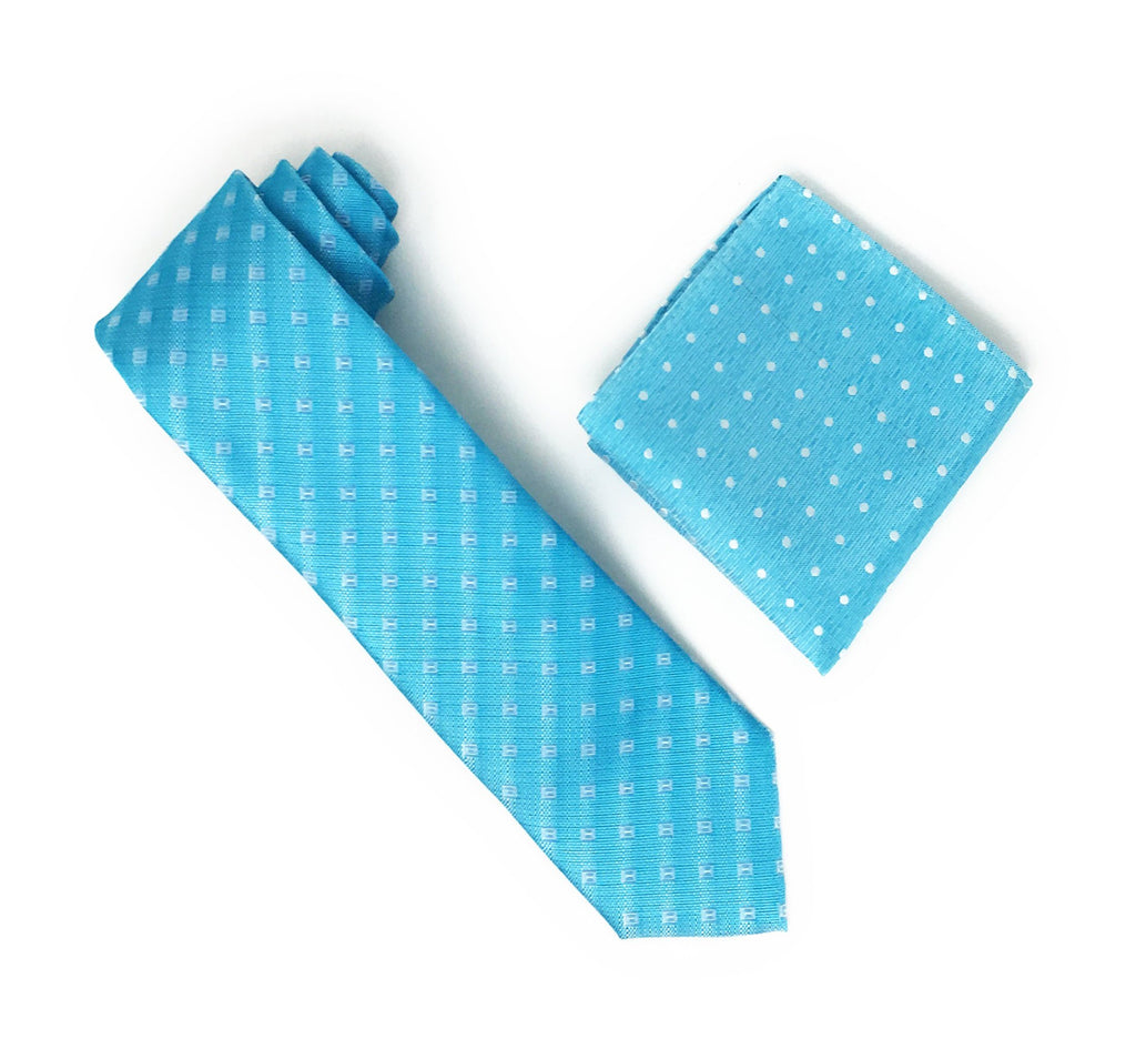 Turquoise With Silver Square Designed Silk Tie With Matching Pocket Square