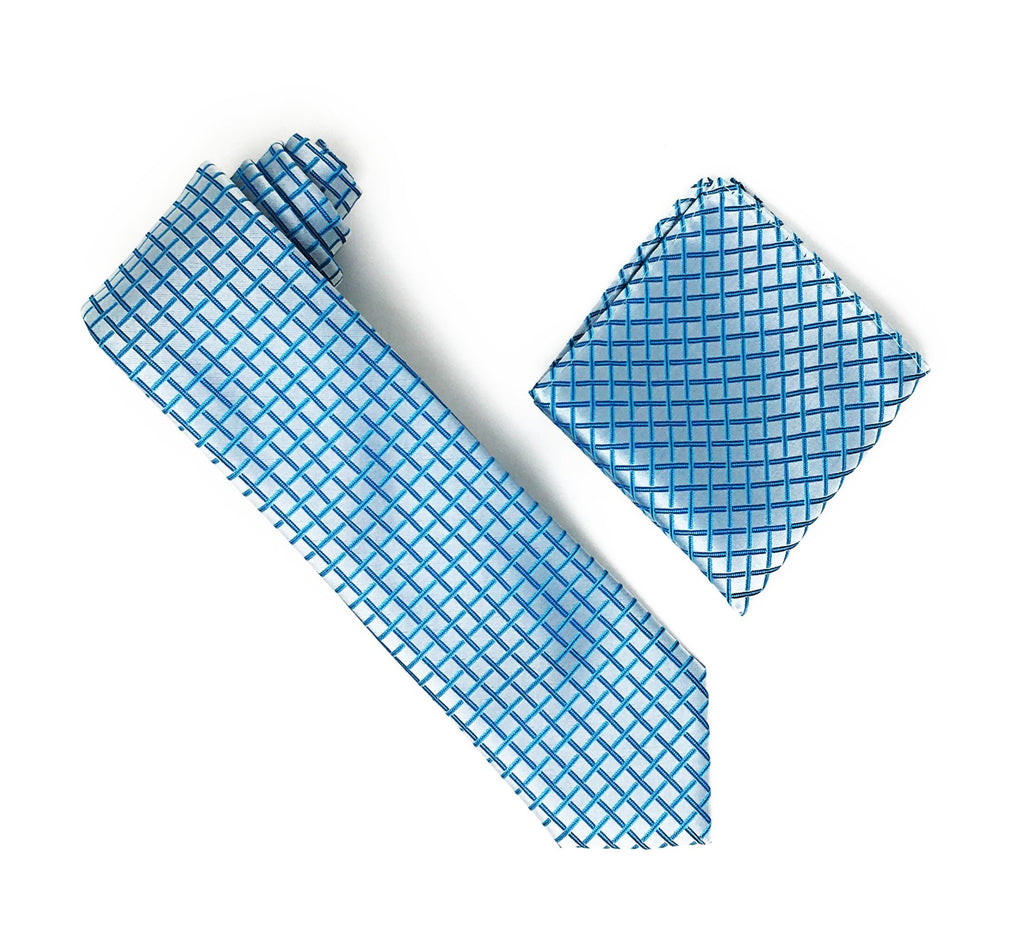Turquoise With Bold Solid Silver Squared Designed Extra Long Silk Tie With Matching Pocket Square