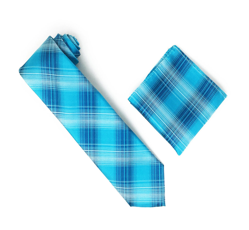 Turquoise, Silver, Navy & Green Stripped Designed Tie With Matching Pocket Square